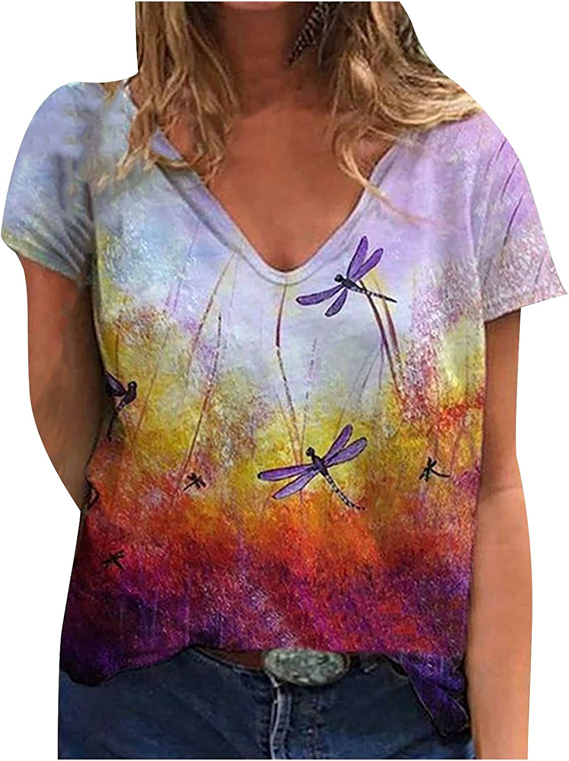 Sunflower New Max 80% OFF Shipping Free Tops for Womens Tie Floral T-Shirts Dye Comfortable Te