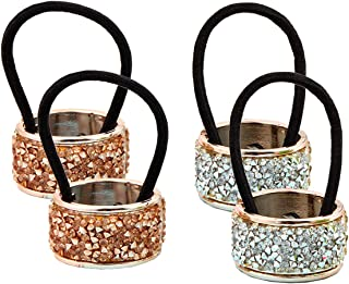 4Pcs Fashion Shining Alloy Rhinestone Crystal Ponytail Holder Hair Cuff Punk Hair Ties Rings Elastic Hair Band Accessories for Women Lady Girls (2 Colors)