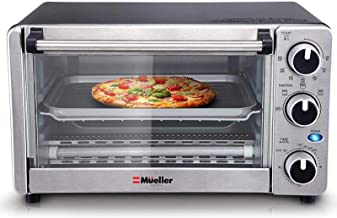 Toaster Oven 4 Slice, Multi-function Stainless Steel with Timer - Toast - Bake - Broil Settings, Natural Convection - 1100...