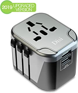 Disi Travel Adapter,Universal Smart 2 USB All in One International Power Adapter, for High Power Appliances for UK, EU, AU, US, Over 200 Countries