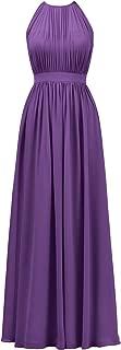 Halter Illusion Bridesmaid Dress Chiffon Formal Evening Prom Gown Maxi
