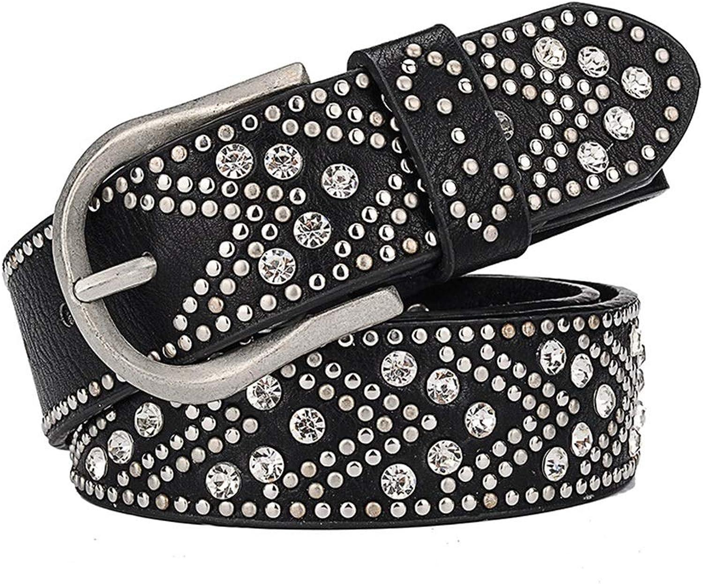 Canvas Belt Women's Leather Belt Alloy Pin Buckle Metal Rivet Inlaid Rhinestone Retro Belt. (color   Black)