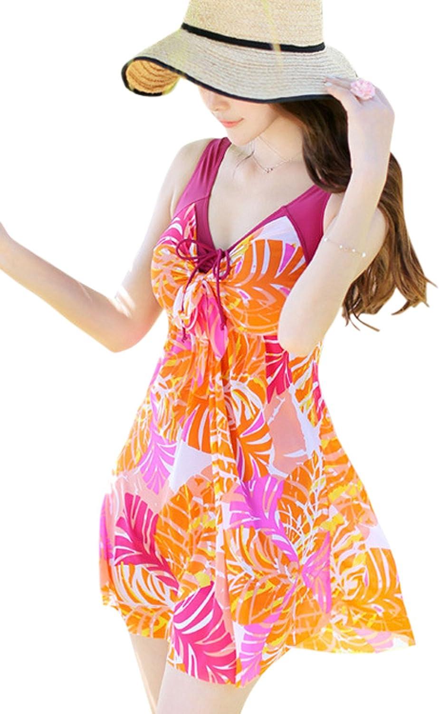 Chouyatou Women's One Piece Printed Mesh Beach Swim Dress BowKnot