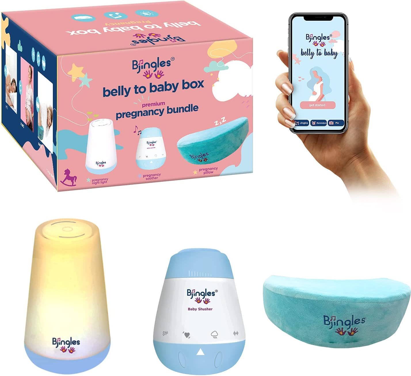Bjingles Pregnancy Sleep Bundle: Incl. Pregnancy Wedge Pillow f/ Belly Support, a Night Light f/ Restful Sleep, & Music Soother to Enjoy with Unborn. Incl. a Travel Bag to Carry Sleep Items on The go