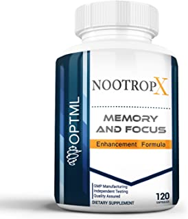 NootropX Advanced Nootropic Brain Supplement   Clinically Effective Doses   Memory and Focus Enhancement Formula   Alpha GPC   Ginkgo   Ginseng   DMAE   Theanine   Huperzine A   ALCAR (120 Capsules)
