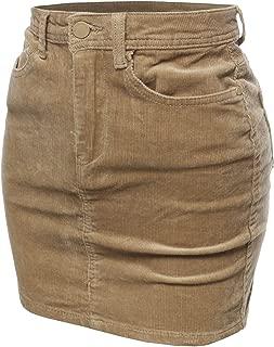 Women's Solid Corduroy High-Rise Pencil Mini Skirt