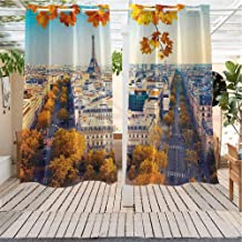 Xlcsomf Fall IKEA Outdoor Curtains Aerial View of Eiffel Tower at Sunset Paris France Cityscape Historical Landmark Image Front Porch W72 x L72 inch Multicolor