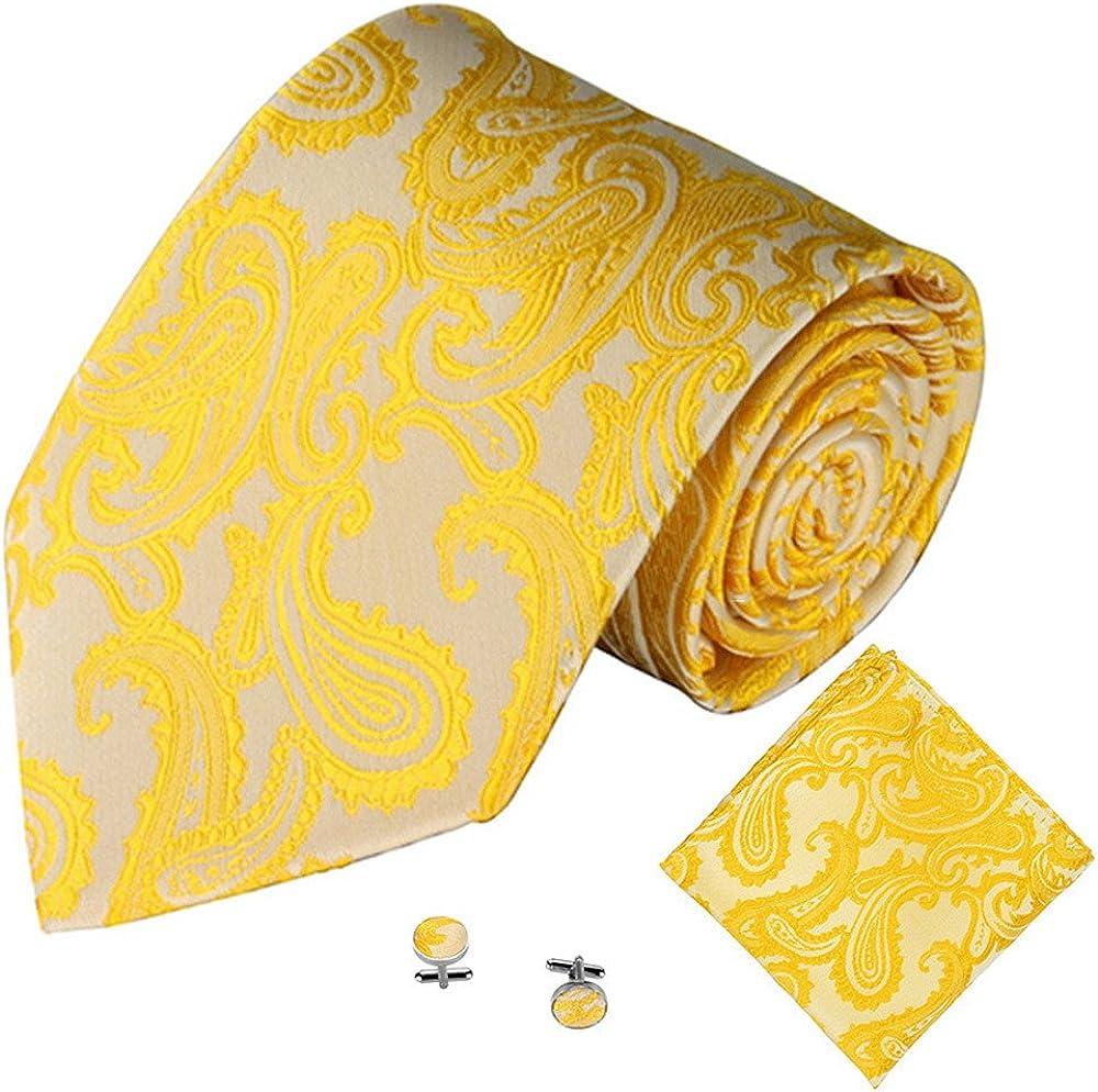 3PCS Business Casual Tie for Men Classic Jacquard Men Party Tie Pocket Square Handkerchief Cuff Link Yellow