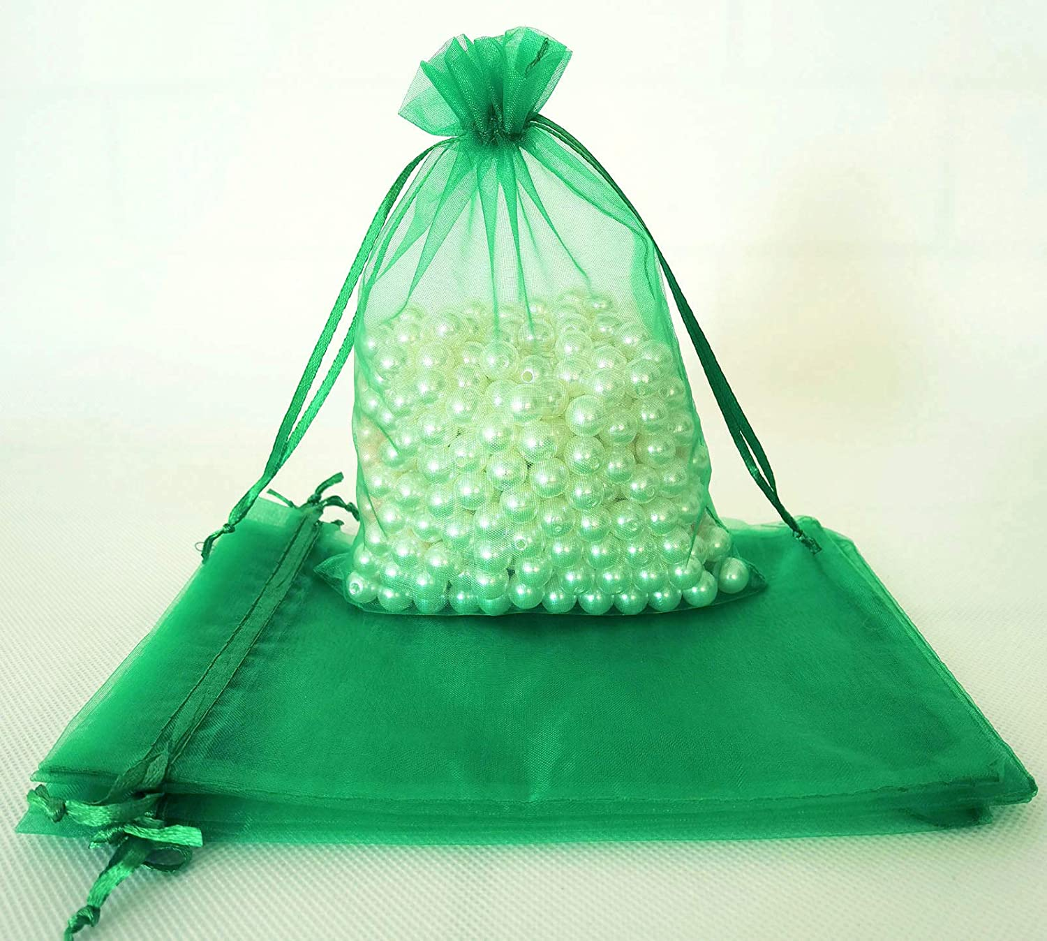 Euplee 100 Pcs Small Max 60% OFF Green Organza Max 49% OFF Wrap Inch with 5x7 Gift Bags