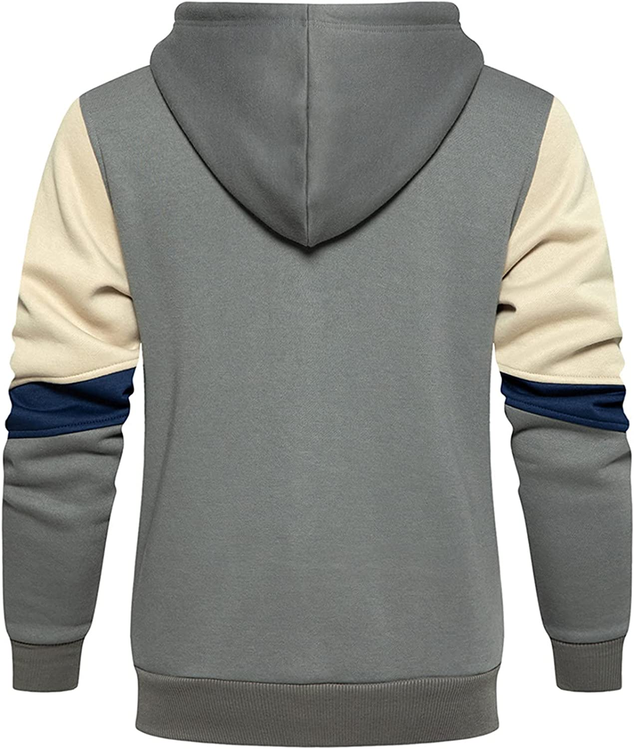 HONGJ Patchwork Hoodies for Mens, Fall Zipper Drawstring Hooded Sweatshirts Slim Fit Athletic Sports Casual Pullover