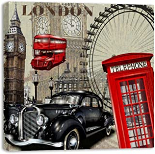 Framed Canvas Wall Art Vintage London Big Ben Bus Telephone Hebe Pattern Oil Painting Artwork Picture Posters Wall Decor f...