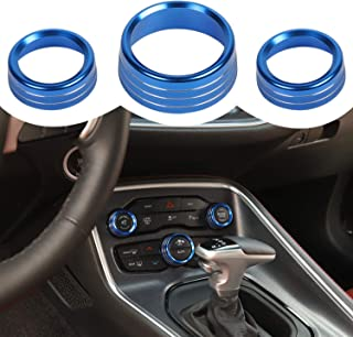 CheroCar Air Conditioning Button Cover Radio Volume Switch Ring for Dodge RAM 1500 2012-2020, for Dodge Challenger/Charger 2015-2020, Interior Accessories, Blue Aluminum Alloy, 3pcs/set…