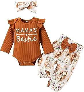 جميل الرضع طفل بنين بنات إلكتروني طويل sleev رومبير+ السراويل الطباعة الأزهار+ القوس عقال وتتسابق مجموعة (Color : Brown, S...