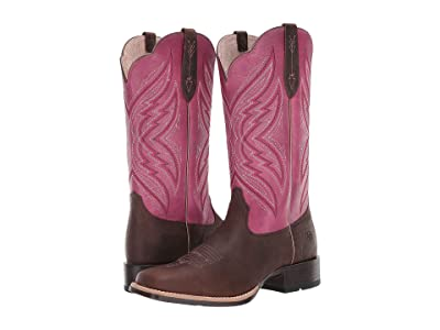 Ariat Pinnacle (Distressed Brown/Fuchsia) Cowboy Boots