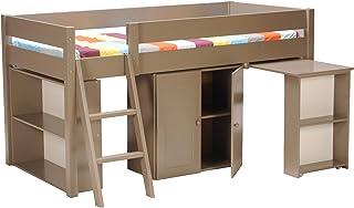 Weber Industries 213543 Lit Combine Tino Bureau + Penderie + Etagère Taupe 200,5 x 100,5 x 108,5 cm
