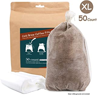 Cold Brew Coffee Filters -Single Use Filter Sock Packs 50 Count Disposable, Fine Mesh Brewing Bags for Concentrate, Iced Coffee Maker, French/Cold Press Kit, Tea in Mason Jar Commercial Size