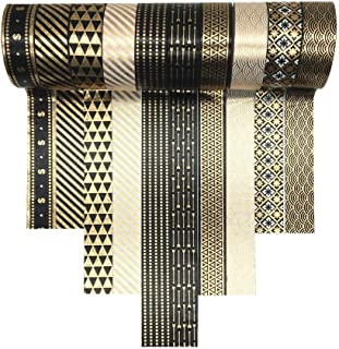 Washi Tape Set 15MM Gold Foil Skinny Masking Tape Decorative Pack for DIY Scrapbooking, Crafts, Gift Wrapping, Holiday Decoration (10 Rolls)