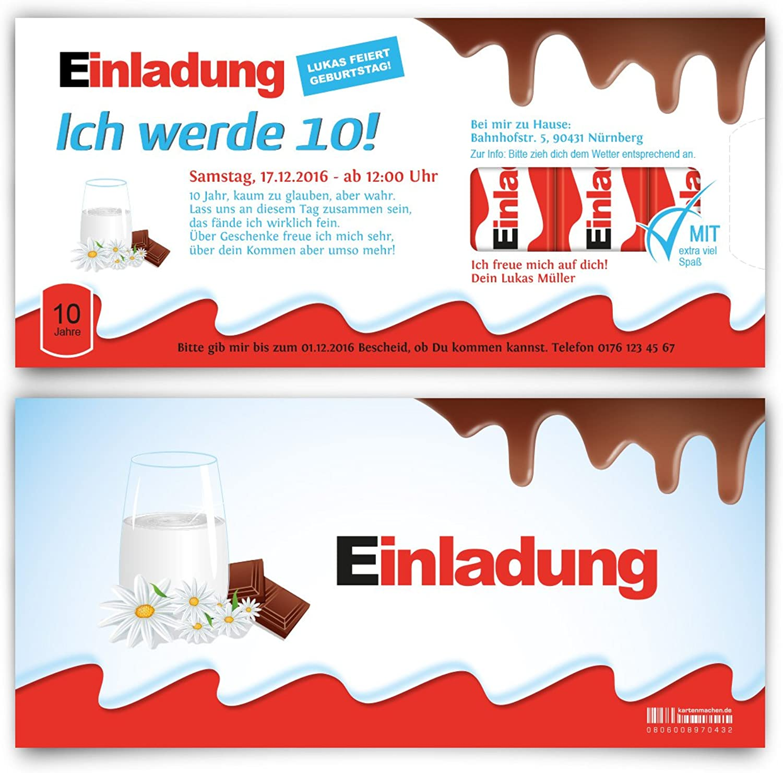 Einladungskarten zum Kinder Geburtstag (60 Stück) - Schokolade für Kinder Motiv Karten B01JIKRIZW | Online Outlet Shop