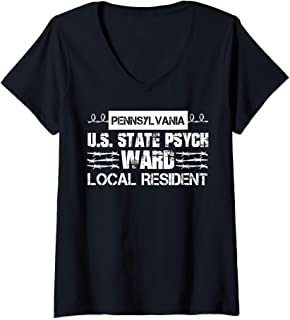 Womens Pennsylvania Inmate Psych Ward County State Jail Halloween V-Neck T-Shirt