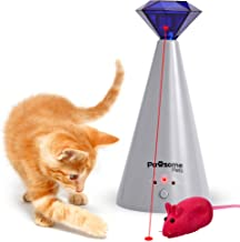 Pawsome Pets Automatic Cat Laser Toy with Free Bonus Squeaky Cat Toy Mouse | Pet Laser Pointer for Cats | Interactive Cat Chase Toys | 3 Rotating Modes | Laser Cat Toy with Auto Shut Off