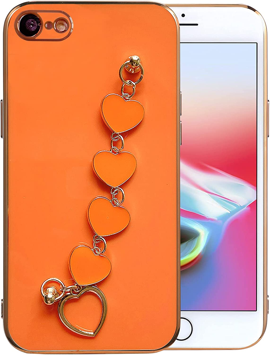Qokey Compatible for iPhone SE 2020 Case,iPhone 7 Case,iPhone 8 Case 4.7 inch Luxury Plating Soft TPU Case with Love Heart Chain Bracelet Strap Shiny Cute Pretty Protective Phone Cover Orange