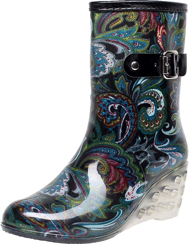 Sekesin Womens Rain Boots Fashion Rubber Garden Boots with Wedge Side Zipper Waterproof Buckle (Bottes de pluie)