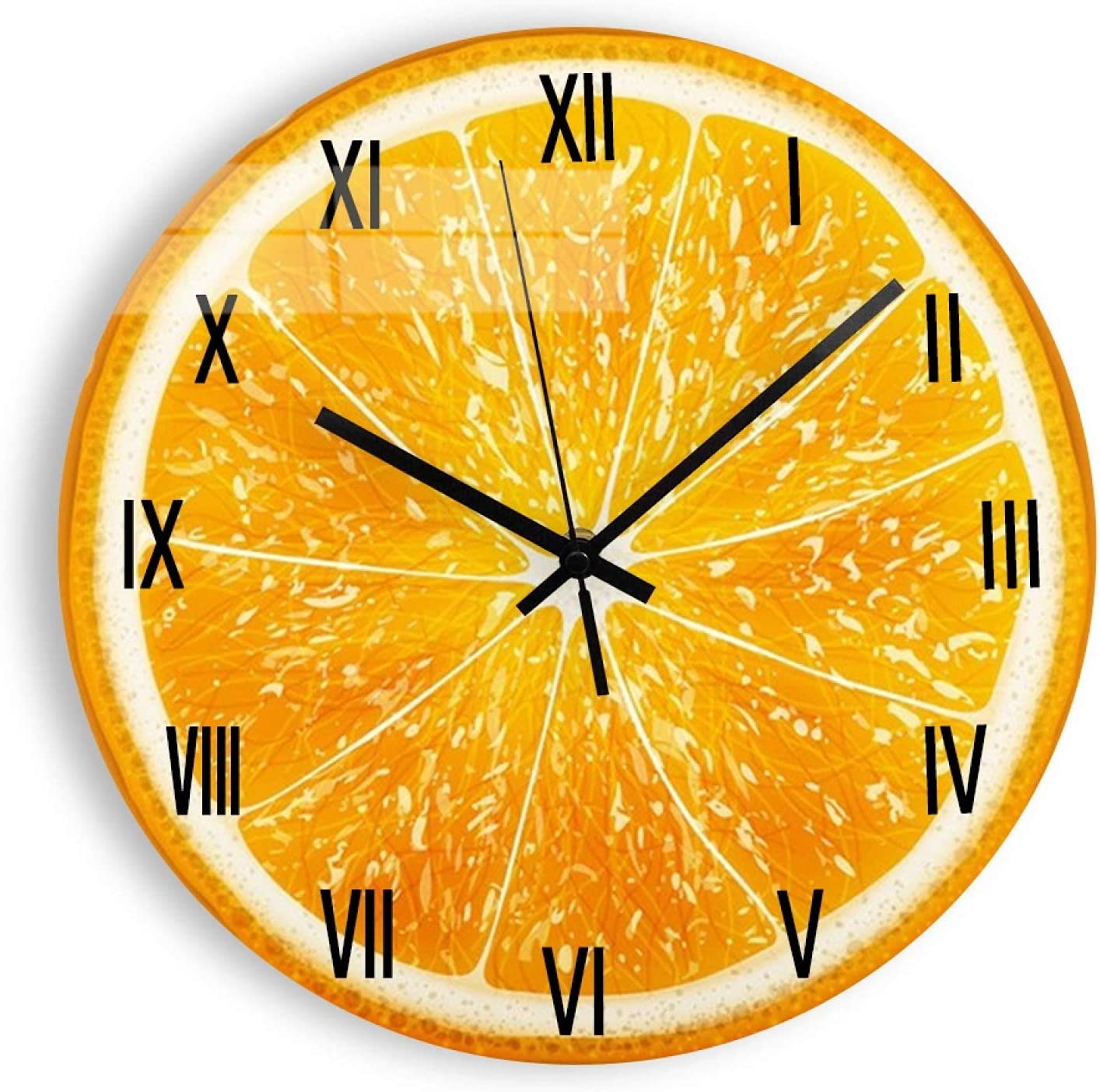 DKISEE Wooden Non Ticking Mesa free Mall Wall Clock Design Lemon ruits R Modern
