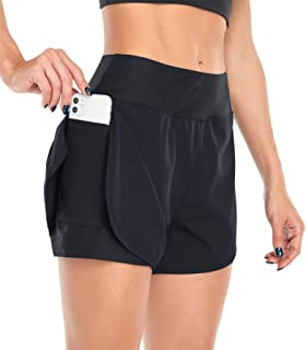 Jhsnjnr Women¡¯s Athletic Yoga Gym Shorts 2 in 1 High Waist Workout Running Shorts with Pockets