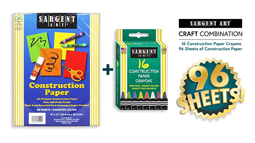 """Sargent Art 22-0092 Combo 9""""x12"""" 96 Sheets Assorted Construction Paper Crayons 16 Different Colors, for Art and Craft Projects, 2 Piece"""