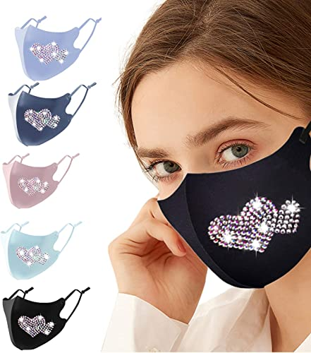 high quality Sequin Bling Face Mask Fashion Designer with Adjustable Ear Loops Gift for Women Reusable Cotton Masks Mouth Face Protection popular for Adult, Pack outlet online sale of 5 online sale