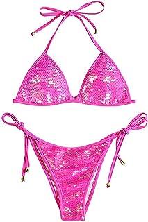 Women Shiny Triangle Bikini Tie Sides Sexy Two Pieces Swimsuits