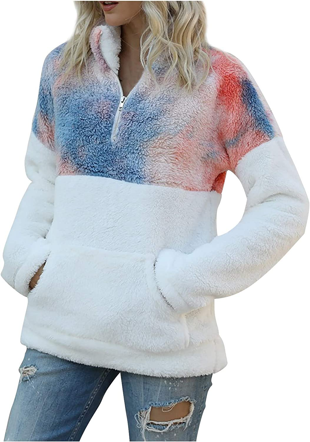 New Shipping Free Shipping Fashion Women's Tie-Dye Sweater Long Plush Sale Special Price Printing Sleeve Stitc
