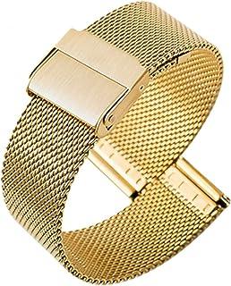 Gold Edelstahl Metall Armband Ersatz Uhrenarmband 141618202224 mm