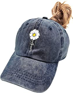 Women's Adjustable Blessed Faith Ponytail Hat Vintage Washed Baseball Cap