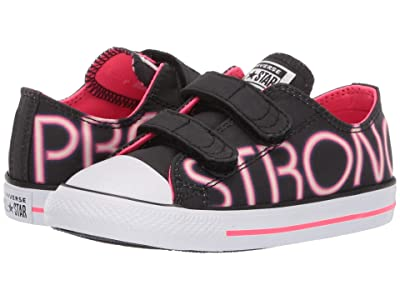 Converse Kids Chuck Taylor All Star Pretty Strong 2V Ox (Infant/Toddler) (Black/Racer Pink/White) Girls Shoes