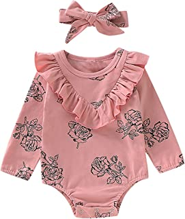 3 Pagliaccetti da neonata a Maniche Lunghe con Motivo Floreale e Fascia per Capelli da 0 a 12 Mesi Borlai
