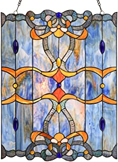 Bieye W10042 Baroque Tiffany Style Stained Glass Window Panel with Chain, Blue, 17