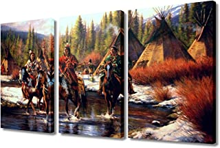TUMOVO 3 Piece Native American Wall Art Hunters Camp Home Decor Indian Men Riding Horse in Winter HD Poster Prints on Canv...