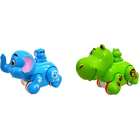 Vibgyor Vibes Colourful Press and Go Friction Animal Toys (Multicolor, Pack of 2)
