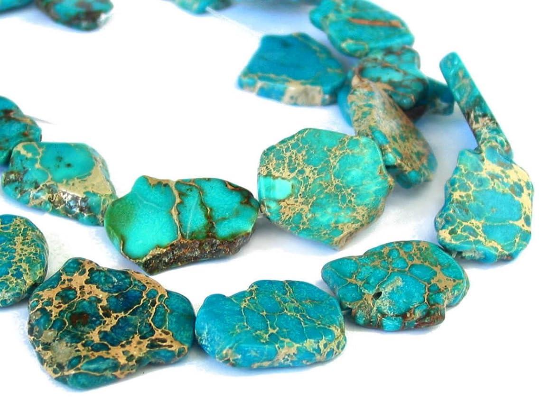 5pcs Natural Ocean Blue Sea Sediment Jasper Smooth Free Form Gemstone Nugget Loose Beads ~ 15-45mm GX8