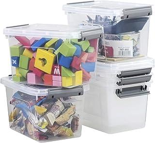 Kiddream 5.5 Liter Plastic Latch Box Small Storage Bin, 6 Packs