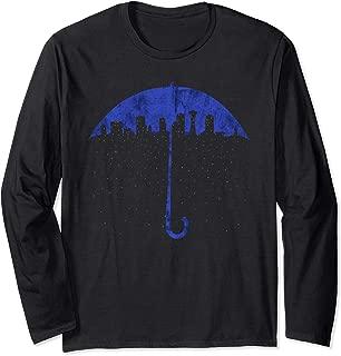 Seattle Skyline Umbrella Rain Graphic Art T Shirt Long Sleeve T-Shirt