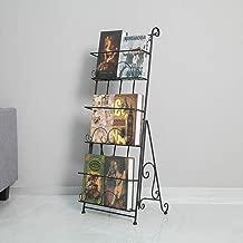 AXDT Floor Standing Magazine Rack Holder Organizer, Brochure Magazine Catalog Literature Display Holder Rack, Elegant Design Metal Rack for Home, Trade Show, Office and Retail Store