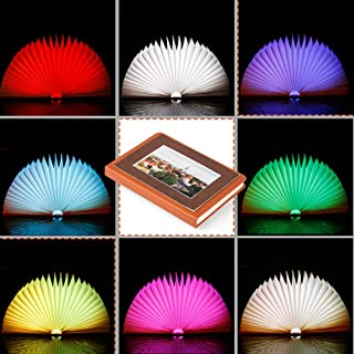 Veesee 7 Colors Rechargeable Book Folding Light,3 Brightness Book-shaped Lighting,Night Light Beside Bed,Nightstand Mood L...