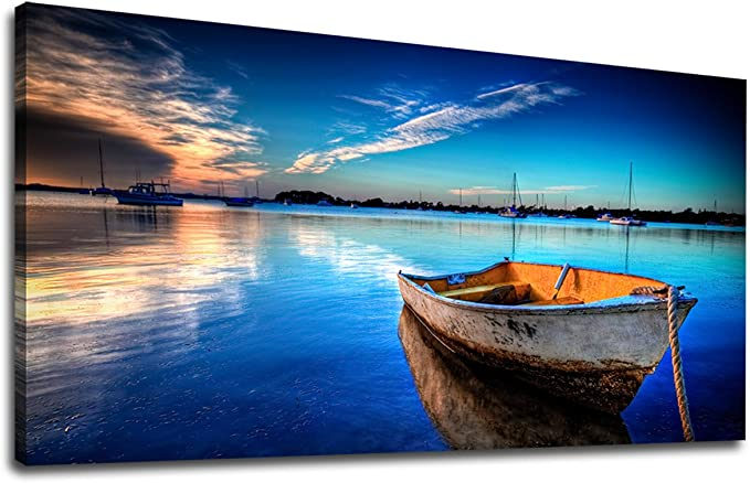 Yearainn Canvas Wall Art Boat Blue Lake Water Sunset Panoramic Painting Long Nature Canvas Artwork Contemporary Picture For Home Office Wall Decor 20 X 40 Posters Prints