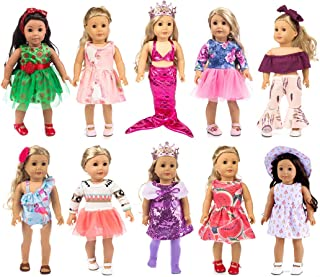 ebuddy 10-Sets Fashion Doll Clothes and Accessories with Popular Elements Horn Style,Unicon,Flamingo,Mermaid,Princess Dress for 18 inch American Girl Doll ,Our Generation Doll