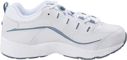 White/Medium Blue Leather