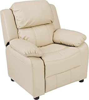 AmazonBasics LeatherSoft Kids/Youth Recliner with Armrest Storage, 5+ Age Group, Beige