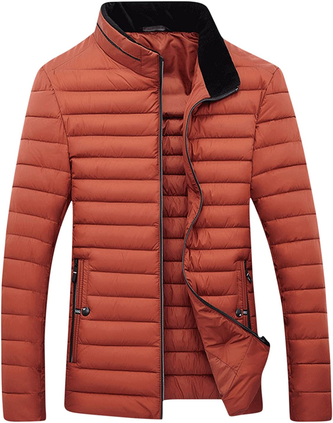 Springrain Men's Stand Collar Thicken Quilted Cotton-Padded Jacket Coats