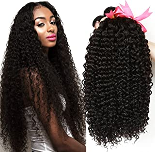 CLAROLAIR Brazilian Kinky Curly Hair Unprocessed Brazilian Virgin Human Hair Weave Extensions Brazilian Unprocessed Virgin Kinky Curly 3pcs/Pack Natural Color (18 20 22inch) (18 20 22 inch)